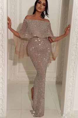 Shiny Off-the-shoulder Long Sexy Mermaid Sequins Prom Dresses