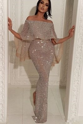 Shiny Off-the-shoulder Long Sexy Mermaid Sequins Prom Dresses_1