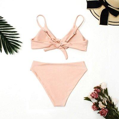 Vintage Nude Pink Knot Straps Two Piece Sexy Bikinis_5