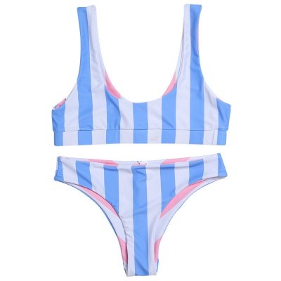 Vintage Scoop Spaghetti Striped Two Piece Swimsuits_4