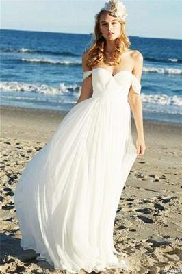 Elegant Off-the-Shoulder Wedding Dresses | Sheer Ruffles Sleeveless Flower Bridal Gowns
