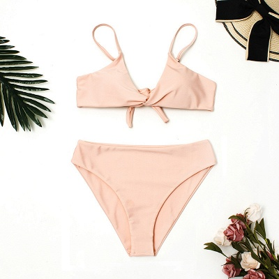 Vintage Nude Pink Knot Straps Two Piece Sexy Bikinis_8
