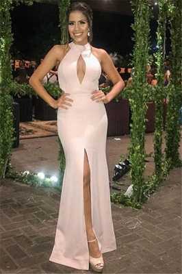 New Arrival Pink Halter Sleeveless Side-Slit Mermaid Prom Dress