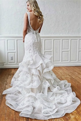 Latest Lace V-Neck Sexy Mermaid Wedding Dresses | Illusion Ruffles Sleeveless Backless Bridal Gowns_2