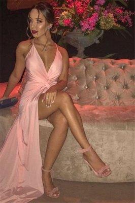 Sexy Pink Spaghetti-Straps Front-Slit Mermaid Evening Dress_2