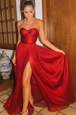 Sexy Burgundy Strapless Side-Slit  Long Prom Dresses