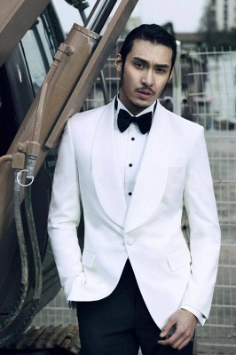 White Wool Shawl lapel Custom Suit For Men | Single Breasted One Button Wedding Suit For Groom_1