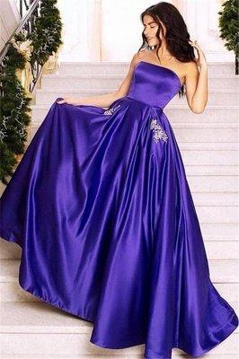 Chic Purple Strapless Sleeveless Long  Prom Dress_1