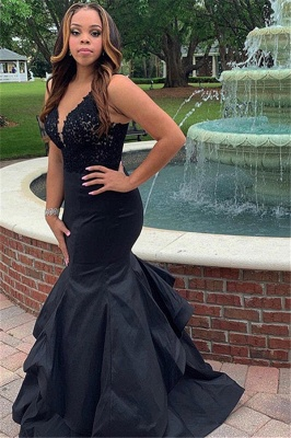 Black Straps Lace Appliques Sleeveless Ruffle Mermaid Prom Dresses