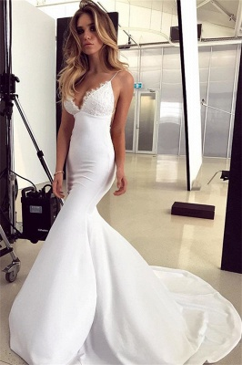 Gorgeous Spaghetti-Straps Applique Sleeveless Mermaid Wedding Dress