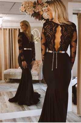 Glamorous Black Lone-Sleeves Lace Applique Long Sexy Mermaid Prom Dresses_2