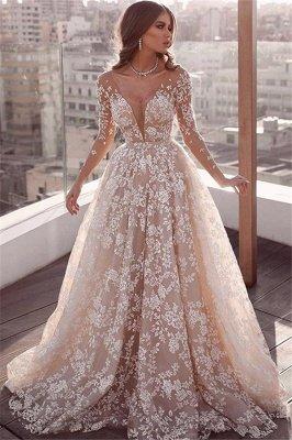 Elegant Lace Appliques Wedding Dresses | Long Sleeve Cheap Bridal Gowns_1