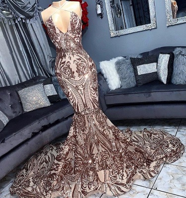 V-neck Sequins Sleeveless Mermaid Floor Length Long Prom Dresses Cheap_1