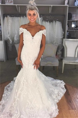 Elegant Lace appliques Off-the-Shoulder Wedding Dresses | Sheer Sleeveless Flower Bridal Gowns