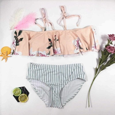 Pink Printed Two Piece Swimsuit Cheap | Sexy Bikini for Summer Beach Online_7