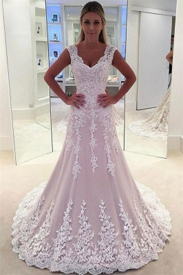 Lovely Pink Lace appliques Wedding Dresses | Sleeveless Flower Bridal Gowns