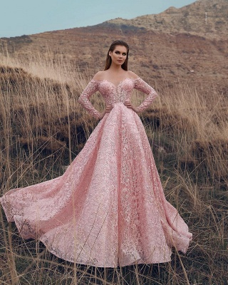 Pink Off-The-Shoulder Long-Sleeves Lace Applique Princess  Prom Dresses_2