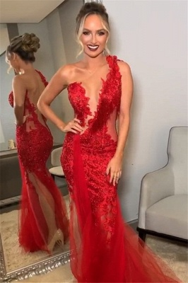 Burgundy One-Shoulder Lace Applique Backless Sexy Mermaid Tullle Prom Dresses_1