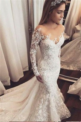 Gorgeous Beads Lace Appliques Off The Shoulder Wedding Dresses | Ruffles See Through Long Sleeve Cheap Bridal Gowns_1