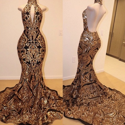 Halter Keyhole Neckline Sequins Appliques Mermaid Long Prom Dresses Cheap_2