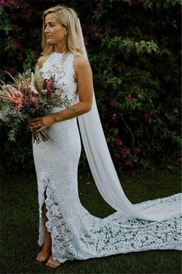 Latest Lace Appliques Halter Open Back  Mermaid Wedding Dresses | Sexy Side Slit Sleeveless Cheap Bridal Gowns_1
