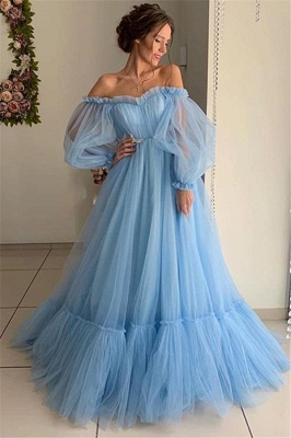 Chic Off-The-Shoulder Long-Sleeves Sheer-Tulle  Prom Dress
