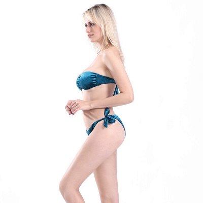 Sweetheart Strapless Bandage Velvet Two Piece Sexy Bikini Swimwear_9
