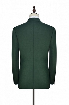 Green Double Breasted Tailored Suit For Formal   Peaked Lapel 3 Pockets Custom Made Causal Suit_4