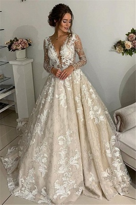 Elegant Lace Appliques V-Neck Wedding Dresses | See Through Long Sleeve Open Back Cheap Bridal Gowns_1