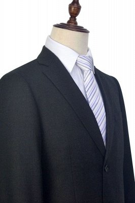 New Black Tweed Notched lapel Custom Suits for Formal   High Quality Single Breasted 2 Pockets Hand Made Wool Suit_6