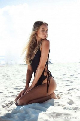 V-neck Spaghetti Backless One Piece Lace-up Beachwears_2