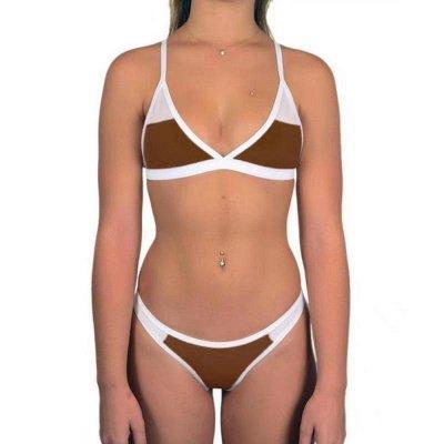 Triangle Pads Colorful Plain Sheer Net Sexy Bikini Sets_4