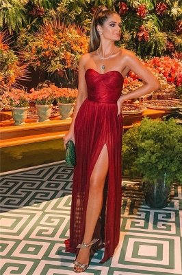 Sexy Burgundy Strapless Side-Slit  Long Prom Dresses_2