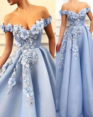 Glamorous Off-The-Shoulder Flower Appliques Sleeveless  Prom Dress