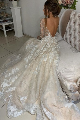 Elegant Lace Appliques V-Neck Wedding Dresses | See Through Long Sleeve Open Back Cheap Bridal Gowns_3