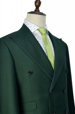 Green Double Breasted Tailored Suit For Formal   Peaked Lapel 3 Pockets Custom Made Causal Suit_6