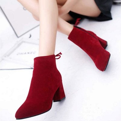 Chunky Heel Daily Lace-up Pointed Toe Zipper Elegant Boots_1