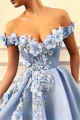 Glamorous Off-The-Shoulder Flower Appliques Sleeveless  Prom Dress_3