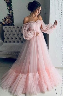 Chic Off-The-Shoulder Long-Sleeves Sheer-Tulle  Prom Dress_2