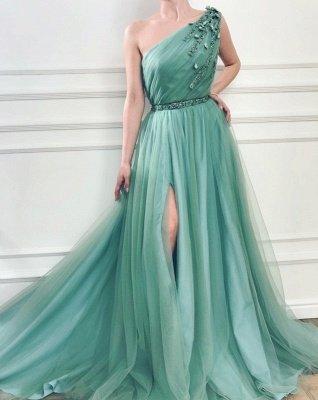Elegant Appliques One-Shoulder Side-Slit Sleeveless Tulle A-Line Prom Dresses_2