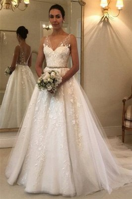 Elegant See Through Straps Appliques Wedding Dresses | Sexy Sleeveless Cheap Bridal Gowns_1