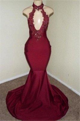 Burgundy Halter Appliques Sleeveless Open Back Mermaid Long Prom Dresses Cheap_1