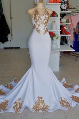 Halter V-Neck Sleeveless Mermaid Peom Gowns   Sexy Gold Appliques Prom Dresses Cheap_1