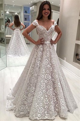 Glamorous Off-The-Shoulder Appliques  Wedding Dress