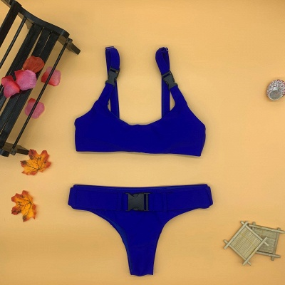 Plain Scoop Colorful Two Piece Buckled Sexy Bikini Swimsuits_10
