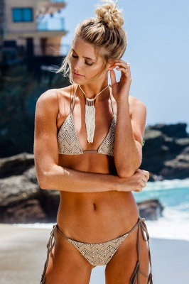 Lace Triangle Cut-outs Halter Sexy Bikini Swimwear