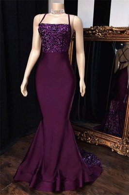 Purple Spaghetti-Straps Appliques Sleeveless Mermaid Prom Dresses