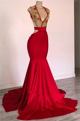 Burgundy Straps Appliques Sleeveless Open Back Mermaid Long Prom Dresses Cheap_1