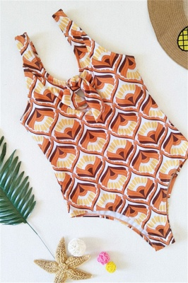 Totem Patterned Front Cut-out Ribbon One Piece Swimwear_6