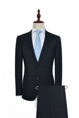 Black Checked Wool Three Slant Pocket Classic Suit For Men | Single Breasted Peaked Lapel Made to Measure Men Business Suit